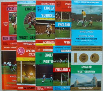 Collection of 10 different ENGLAND football programmes between 1972 and 1975